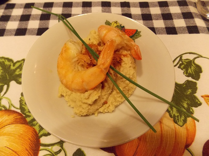 Recipes. Chickpea mash with shrimps